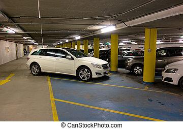 parque de coche, estacionado, mal