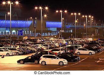 parque de coche, noche