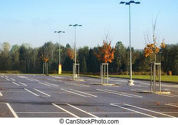 parque de coche, supermercado