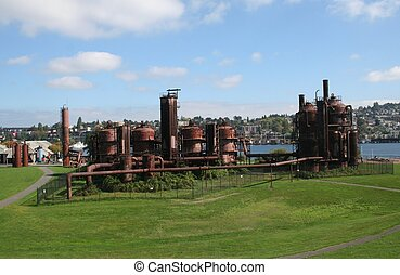 parque de fábrica de gas, en, seattle, washington