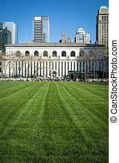parque de la ciudad, biblioteca, york, nuevo, césped, bryant