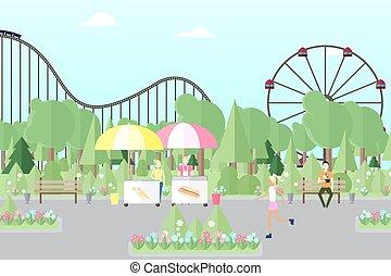 parque de la ciudad, con, gente