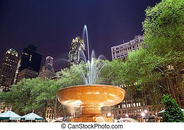 parque de la ciudad, fuente, york, noche, nuevo, bryant