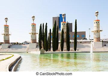 Parque de la Espana Industrial in Barcelona in sunny day