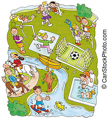 parque, deportes