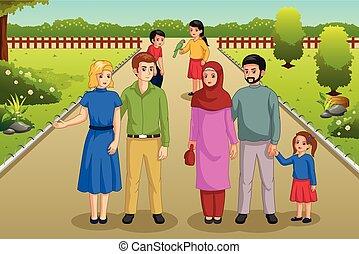 parque, desfrutando, famílias, ilustração, ao ar livre