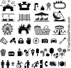 parque, diversión, iconos