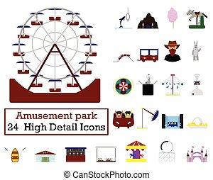 parque divertimento, ícone, jogo
