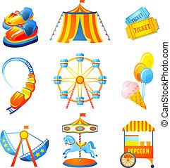 parque divertimento, ícones, jogo