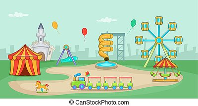 parque divertimento, horizontais, bandeira, caricatura, estilo