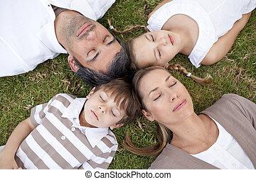 parque, dormir, cabeças, família