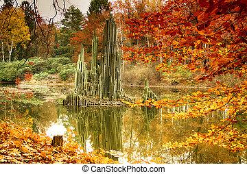 parque, em, kromlau, saxônia, germany., espantoso, coloridos, outono, fundo