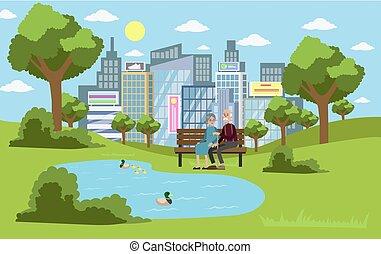 parque, en, el, city.