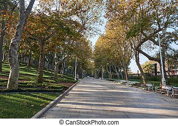 parque, en, el, día de otoño, estambul, pavo