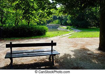 parque, en, tiempo del resorte