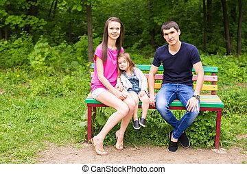 parque, família, feliz