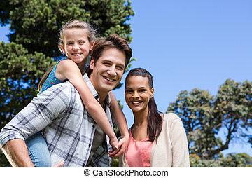 parque, feliz, juntos, familia