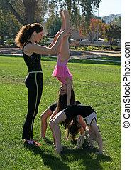 parque, ginastas