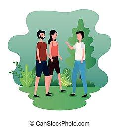 parque, grupo, caracteres, gente