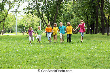parque, grupo, crianças