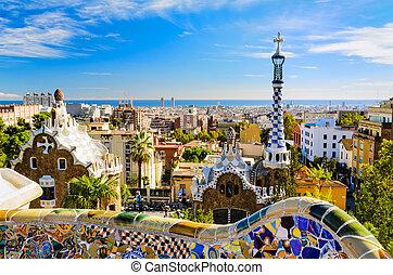 parque, guell, en, barcelona, españa