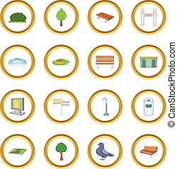 parque, iconos, círculo