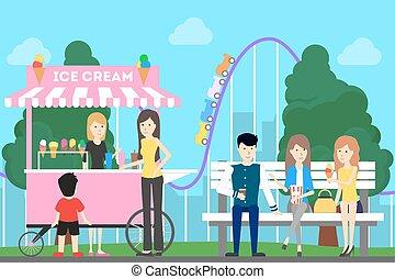 parque, illustration., divertimento