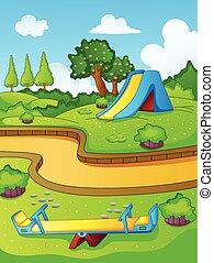 parque juego, para, niños
