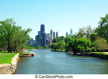 parque, lincoln, rascacielos, chicago