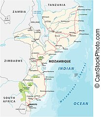 parque, mapa, vector, mozambique, nacional, camino