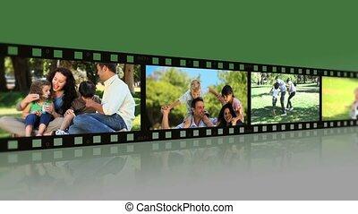 parque, montagem, famílias, pares, desfrutando, momentos,...