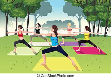 parque, mujeres, yoga, grupo