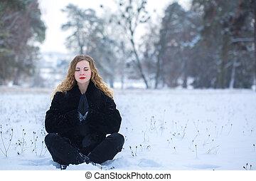 parque, mulher meditando, jovem