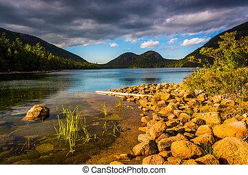 parque nacional, acadia, jordânia, mai, lagoa, bolhas, vista