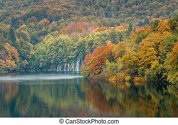 parque nacional, autum, plitvice, colores, cascadas