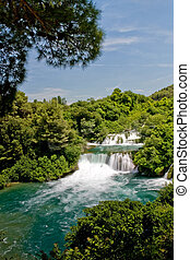 parque nacional, cascada, krka, croacia, paisaje