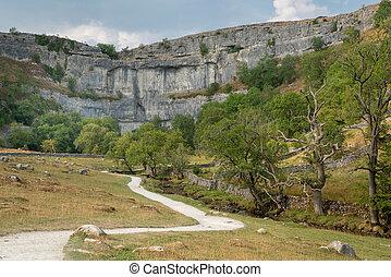 parque nacional, ensenada, malham, yorkshire, curvo, valles,...