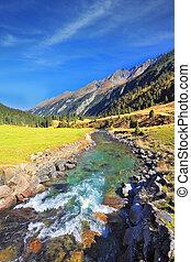 parque, nacional,  krimml,  Áustria, cachoeiras