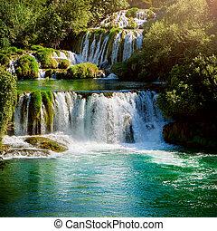 parque nacional, krka, croacia, cascadas, park.