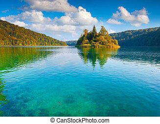 parque nacional, lagos, plitvice, majestuoso, vista