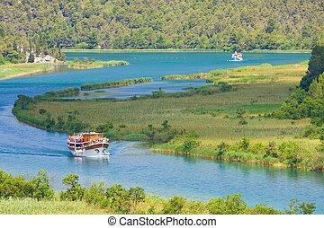 parque nacional, river., krka, croacia, cascadas, dalmatia