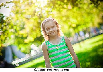 parque, niña, años viejos, 6