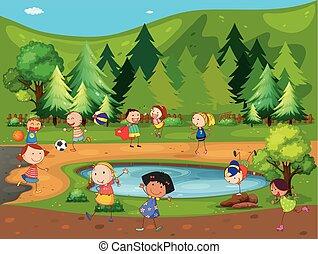 parque, niños