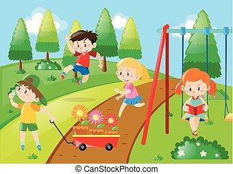 Jardín, yarda, parque, niños, niños, juego. Niños ...