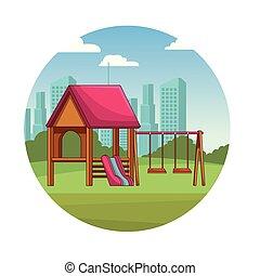 parque, pátio recreio, caricatura