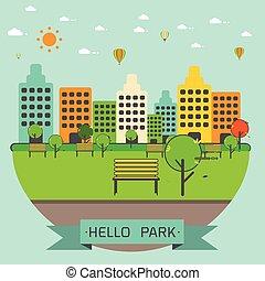 parque, público, cidade