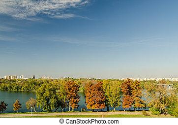 parque público, en, bucharest, vista