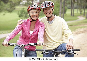 parque, pareja, bicicleta, 3º edad, equitación