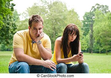 parque, pareja, -, problemas, relación