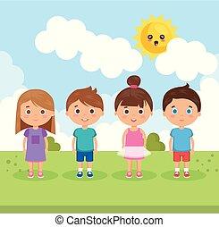 parque, pequeno, crianças, grupo, caráteres